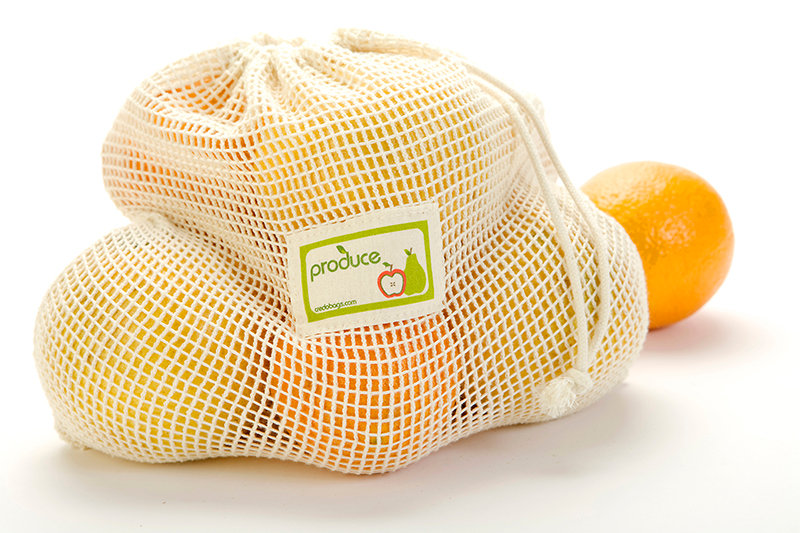 Eco-friendly reusable and compostable Credobags medium produce bags with oranges