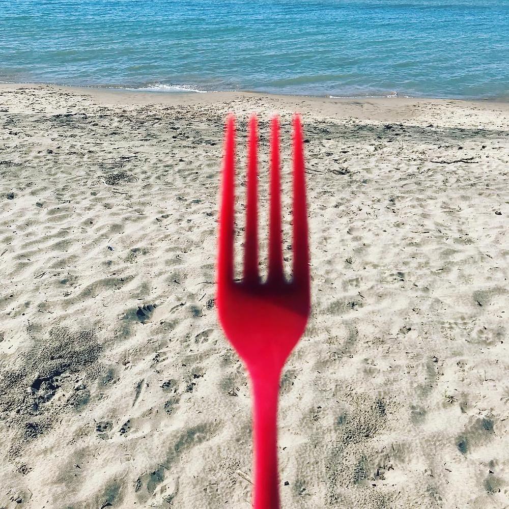 Plastic red fork