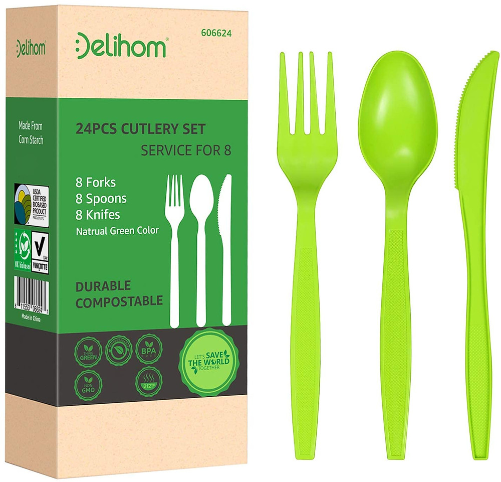 Delihom Compostable Utensil Set - 24PC Eco Friendly Cornstarch Fork Spoon and Knife Cutlery Durable and Heat Resistant Flatware Set - 24 Pack
