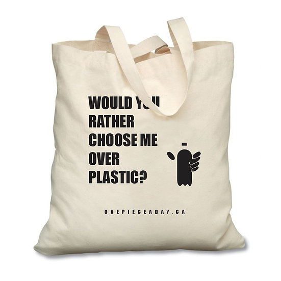 Refuse single-use plastic bags. Use an eco-friendly, reusable cotton tote bag instead. Black design.