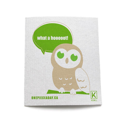 "Eco-friendly, compostable and reusable sponge cloth with a cute """"What a hoot"" owl"