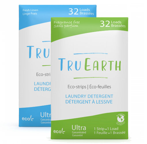 Tru Earth Fragrance Free and Fresh Linen Eco-strips Laundry Detergent. 32 loads in each package.