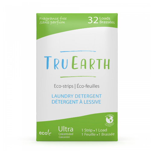 Tru Earth Fragrance Free Eco-strips Laundry Detergent. 32 loads in green and white package.