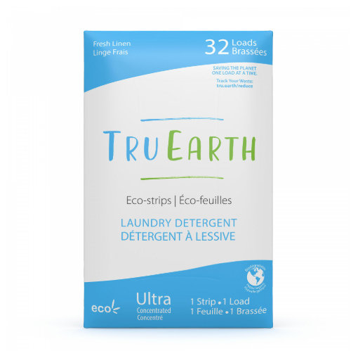Tru Earth Fresh Linen Eco-strips Laundry Detergent. 32 loads in blue and white package.