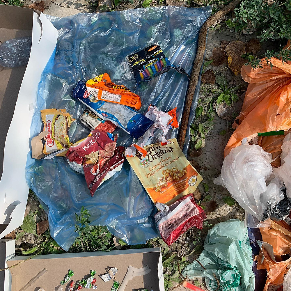 littered snack bags