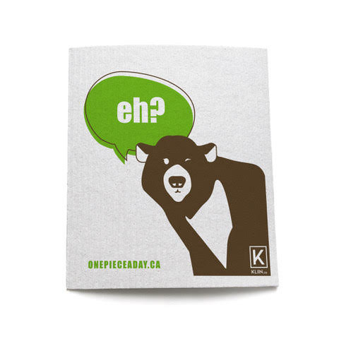 Eco-friendly, compostable and reusable sponge cloth with a Canadian grizzly bear saying 'eh?'