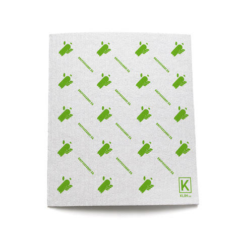 Eco-friendly, compostable and reusable sponge cloth with One Piece A Day green logo monogram design