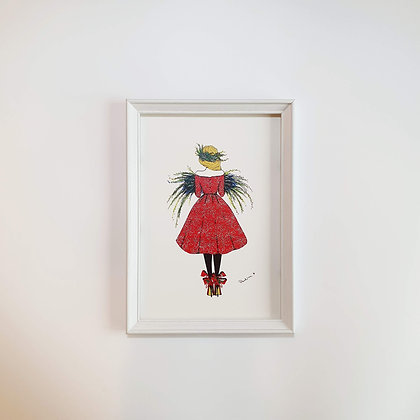Vánoční dívka - Ilustrace do rámečku
