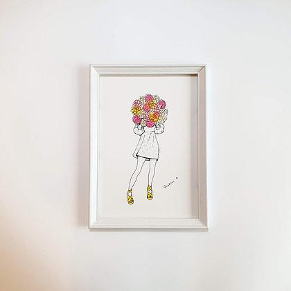 Květinová dívka - Ilustrace do rámečku