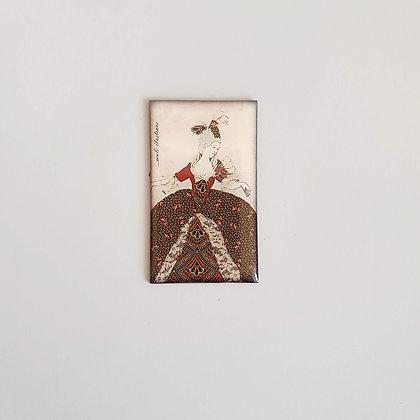 Magnetek z křišťálové pryskyřice – barokní dáma