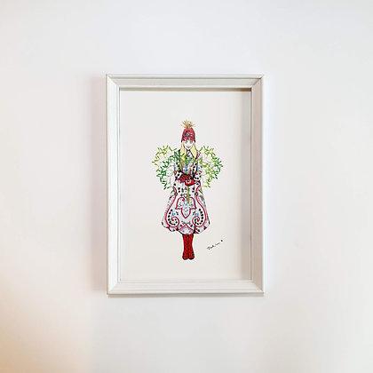 Vánoční jmelí - Ilustrace do rámečku