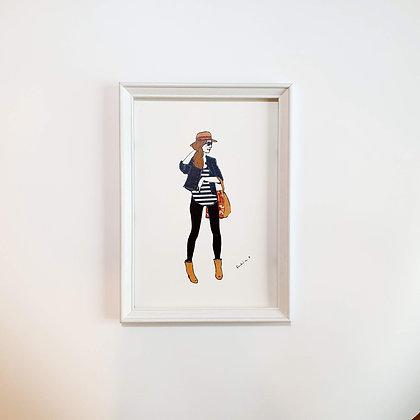 Slečna s kloboukem - Ilustrace do rámečku