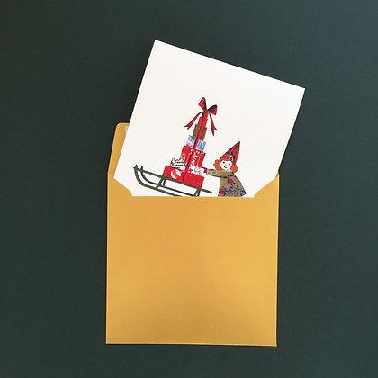 Sáňky a holčička - vánoční blahopřání