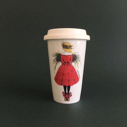 Vánoční dívka - porcelánový termohrnek