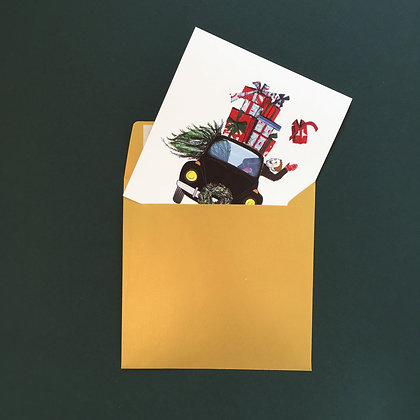 Auto plné dárků - vánoční blahopřání