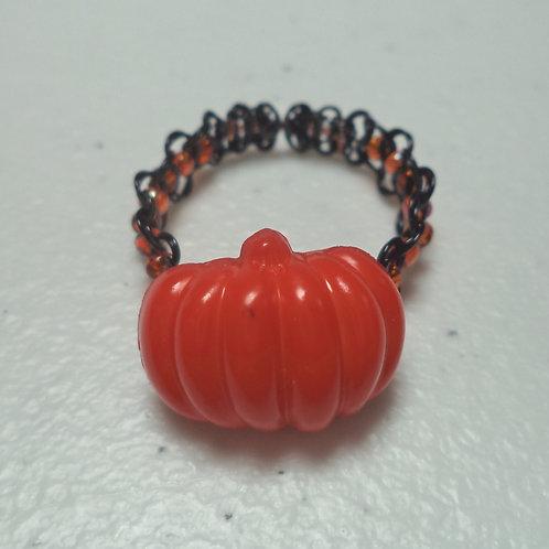 Halloween Pumpkin Bead Orange Beaded Macrame Wire Ring - Size 10.5