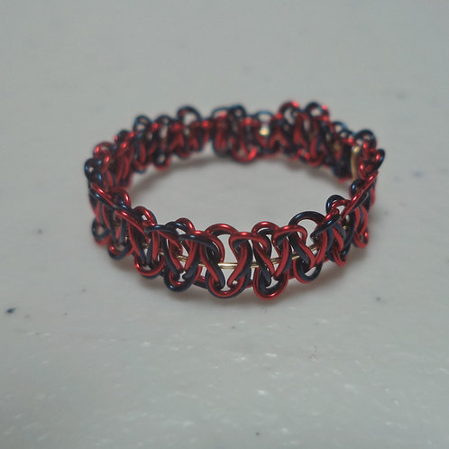 Red Navy Gold Wire Ring - Size 8