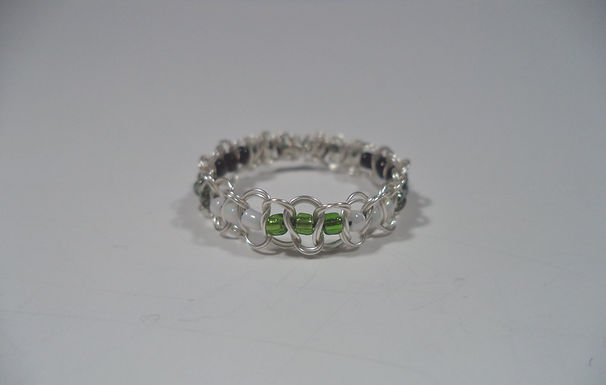 Agender Beaded Wire Ring - Size 12