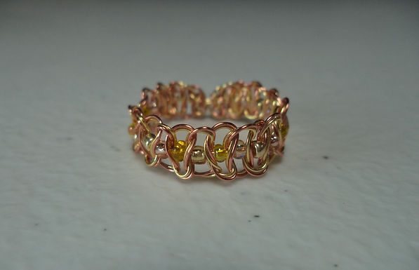 Gold Beaded Wire Ring - Size 9