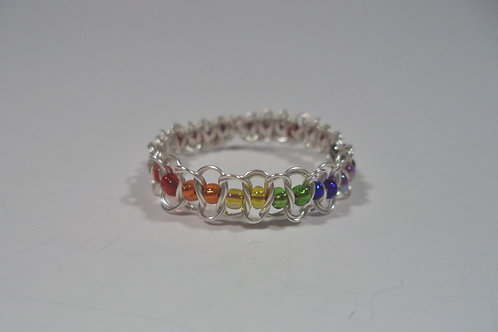 Rainbow Beaded Wire Ring - Size 12.5