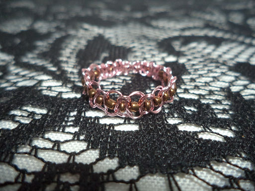 Pink Brown Beaded Wire Ring - Size 11.5