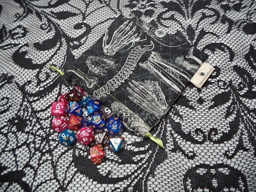 Skeletal Drawstring Dice Bag