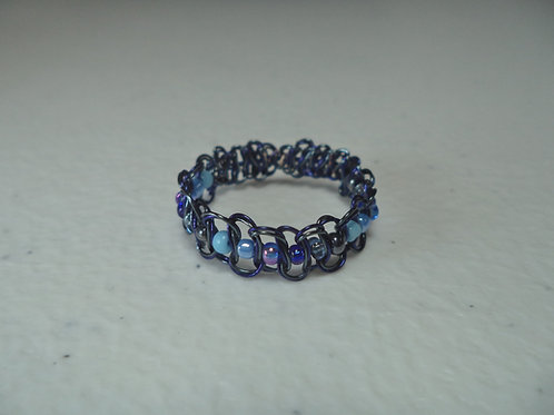 Blue Beaded Wire Ring - Size 11.5