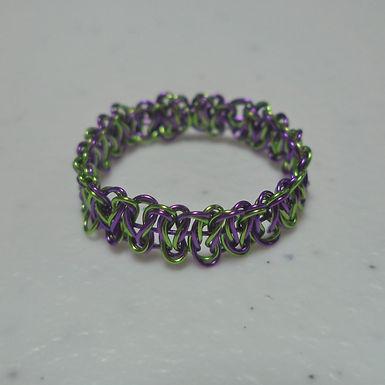 Halloween Green Purple Wire Ring - Size 9.5