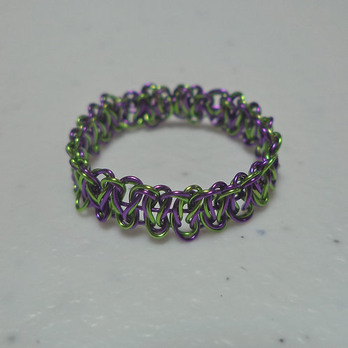 Halloween Green Purple Wire Ring - Size 9.5