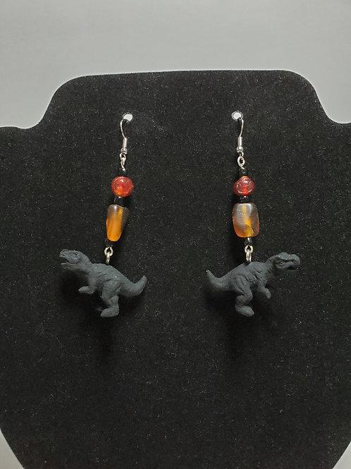 Hand Painted Red/Amber/Black Beaded Dinosaur Dangle Earrings