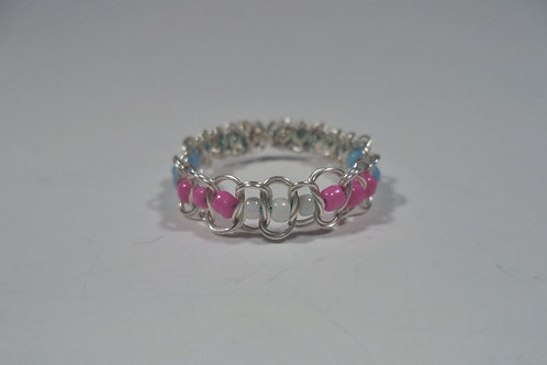 Trans Beaded Wire Ring - Size 10