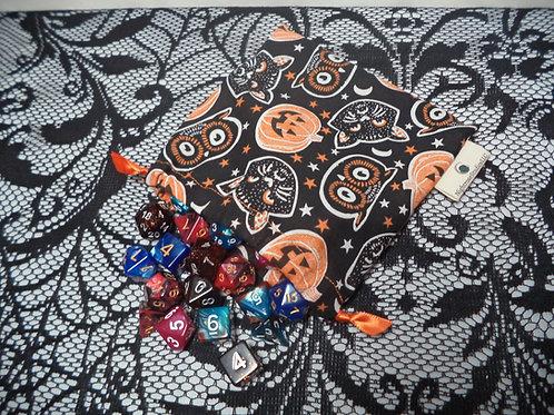 Orange & Black Halloween Drawstring Dice Bag