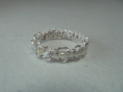 White Beaded Wire Ring - Size 8.5