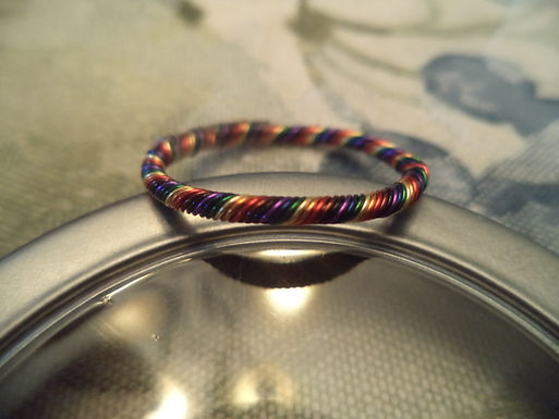 Rainbow Twisted Wire Ring - Size 13.5