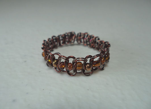 Brown Beaded Wire Ring - Size 11