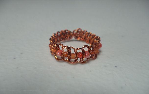 Orange Beaded Wire Ring - Size 9