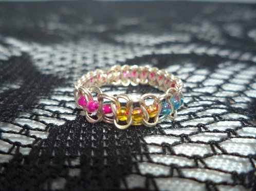 Pan Beaded Wire Ring - Size 7