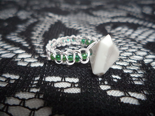 White Triangular Faceted Bead Aqua Beaded Macrame Wire Ring - Size 10