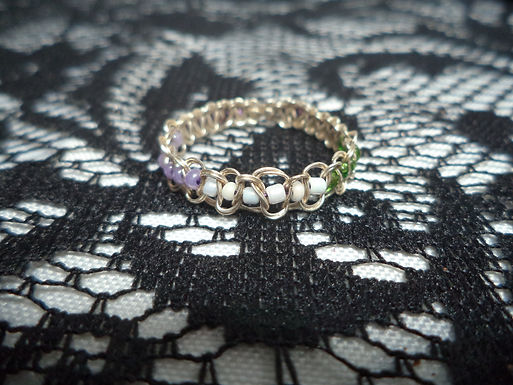 Genderqueer Beaded Wire Ring - Size 15