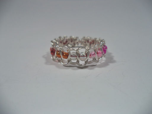 Community Lesbian Beaded Wire Ring - Size 5.5