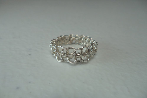 Silver Beaded Wire Ring - Size 5