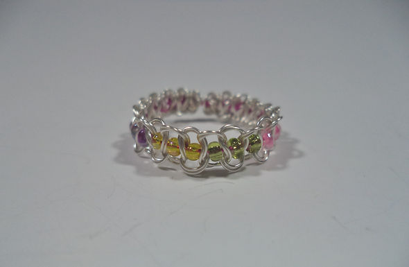 Sappho Lesbian Beaded Wire Ring - Size 6