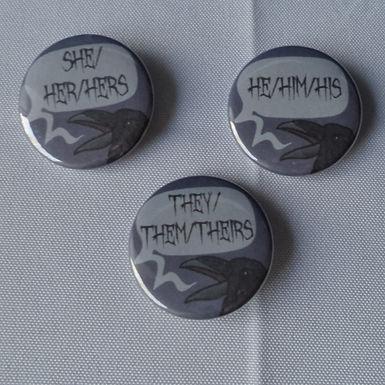 Corvid Pronoun Mini Buttons