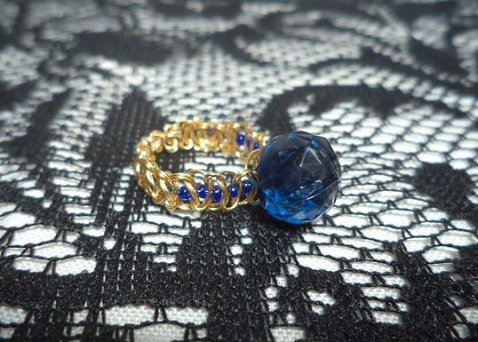 Dark Blue Faceted Bead Blue Beaded Macrame Wire Ring - Size 8.5