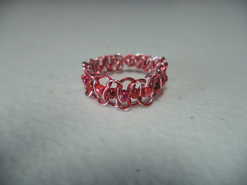 Red Beaded Wire Ring - Size 7.5