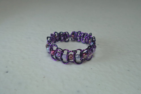 Purple Beaded Wire Ring - Size 9