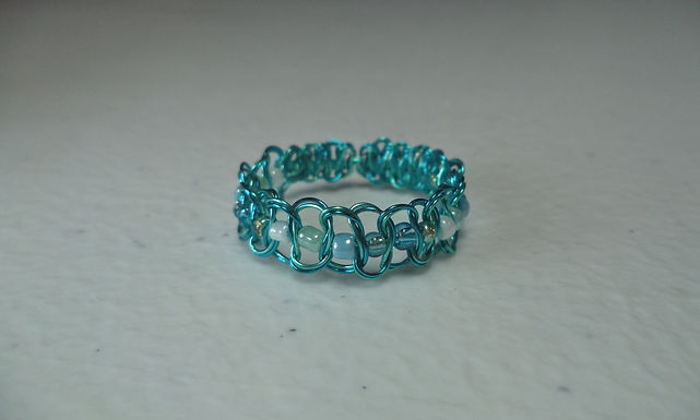 Turquoise Beaded Wire Ring - Size 11
