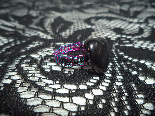 Black Heart Bead Black Beaded Macrame Wire Ring - Size 9