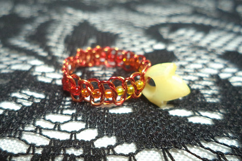 Yellow Bead Fire Beaded Macrame Wire Ring - Size 10.5