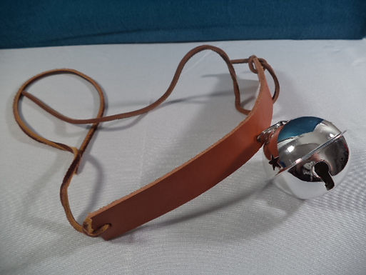 Leather Cosplay Collar + Silver Tone Bell